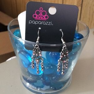 Pink stone silver earrings